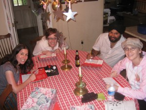 Playing Scattegories with Rachel, Katie and Gobind